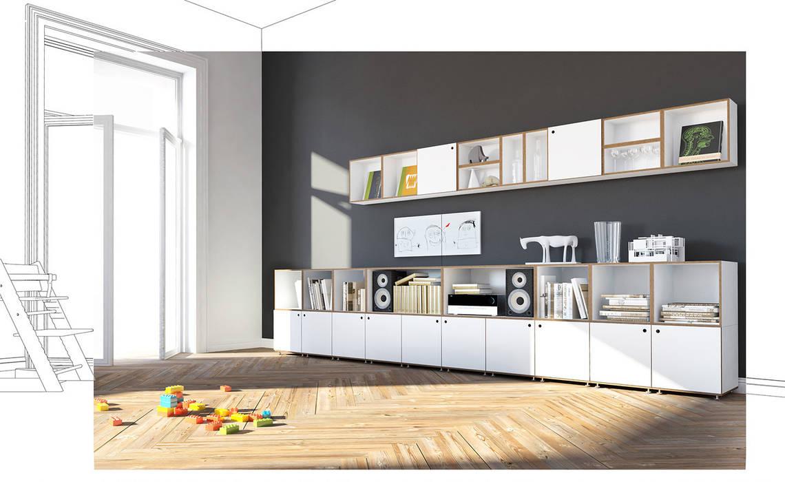 Sideboard mit Wandregal:  Wohnzimmer von stocubo - Das modulare Regalsystem