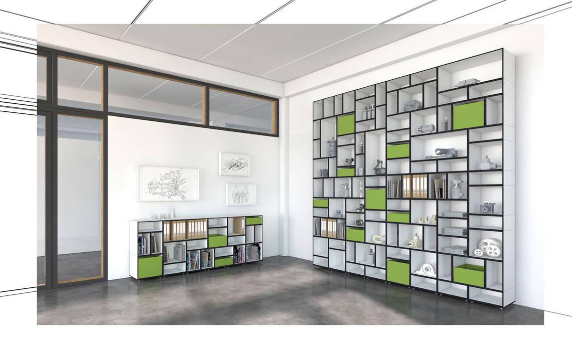 Büroregal Schwarz/Weiß: moderne Arbeitszimmer von stocubo - Das modulare Regalsystem