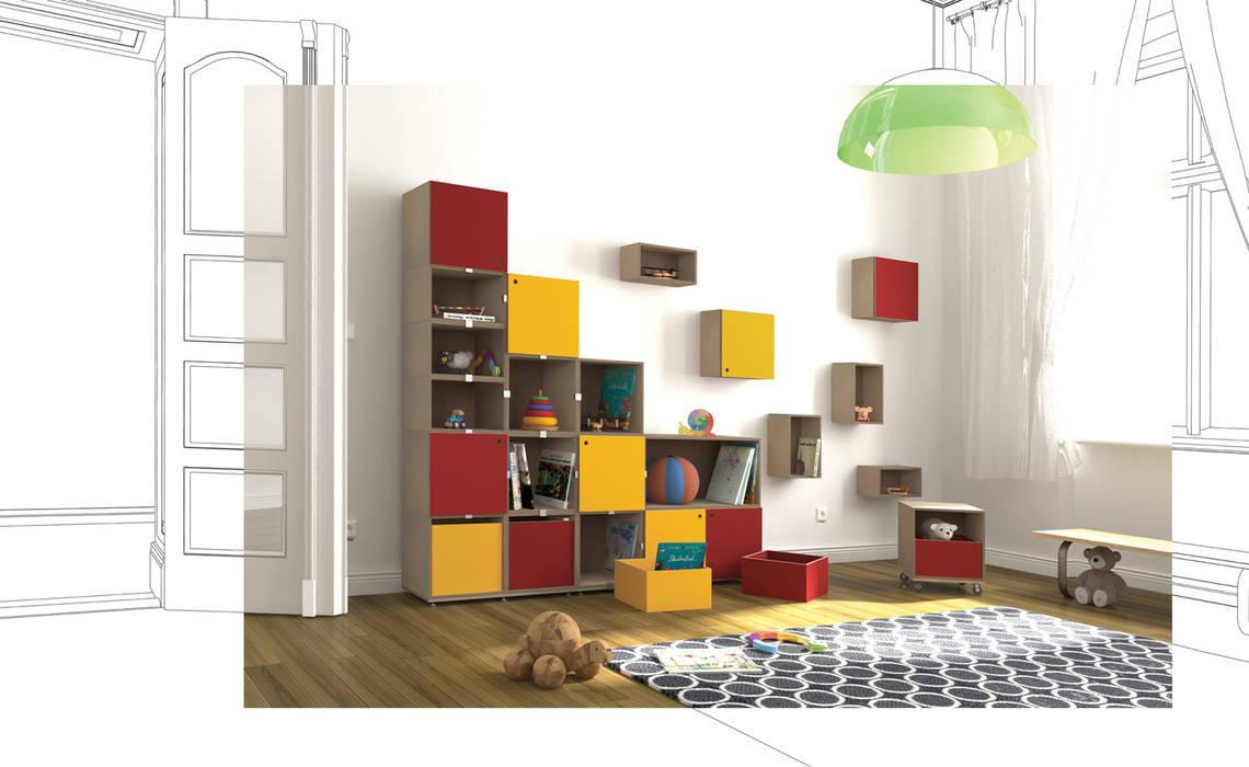 Kinderzimmer Regalsystem: moderne Kinderzimmer von stocubo - Das modulare Regalsystem