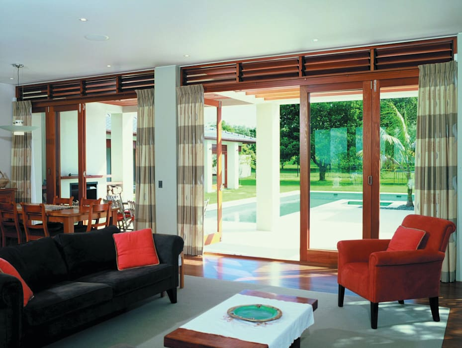 CoFold Sliding Folding Door Hardware Tropical style living room by Coastal Joinery Hardware Tropical