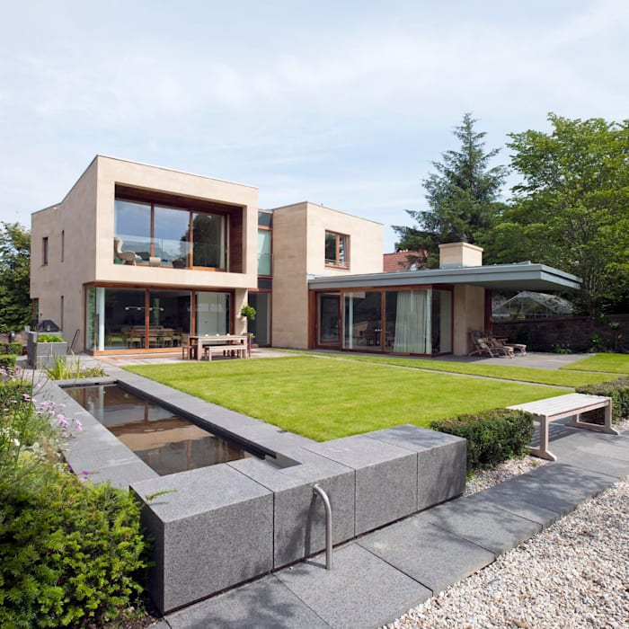 New villa in West Edinburgh - Garden:  Houses by ZONE Architects, Modern