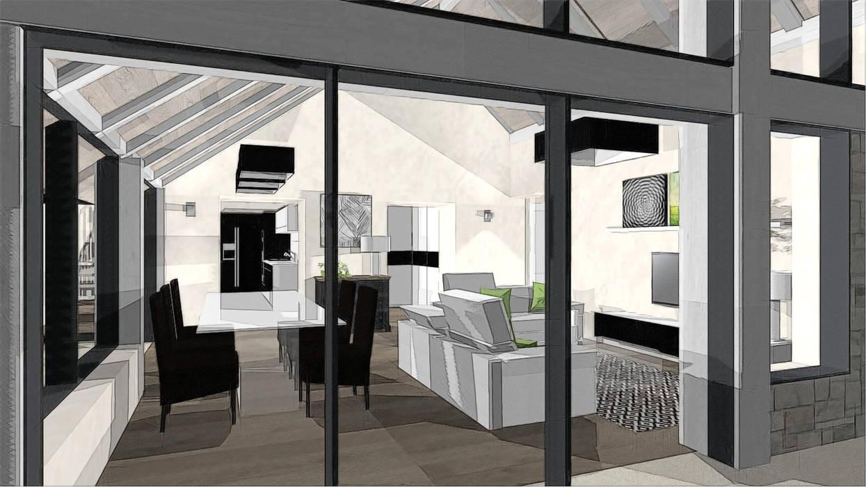 vue extérieure du séjour dans création extension: Terrasse de style  par agence concept decoration