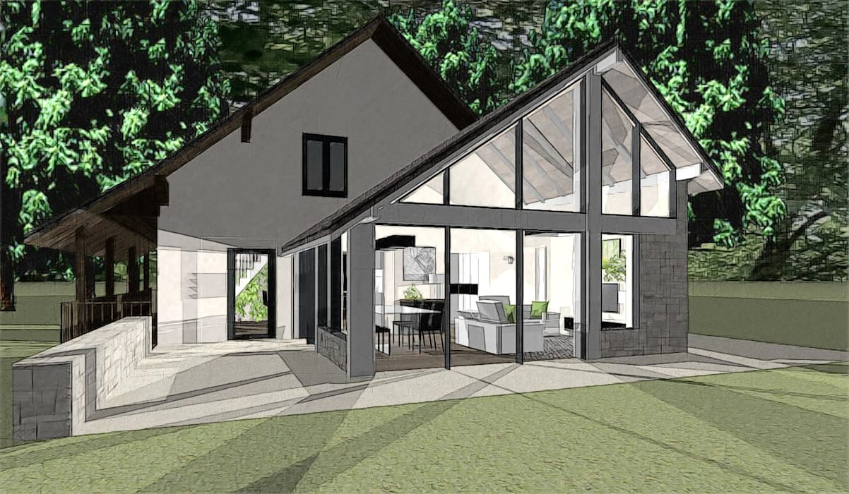 conception d'une extension - chambéry - savoie Balcon, Veranda & Terrasse modernes par agence concept decoration Moderne