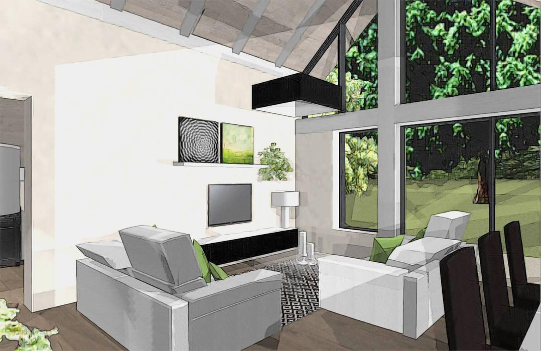 création extension vue salon: Terrasse de style  par agence concept decoration