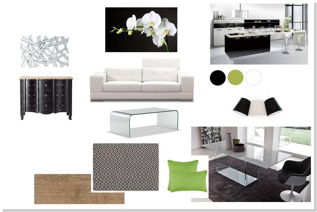 ambiance mélange de style en noir et blanc: Terrasse de style  par agence concept decoration