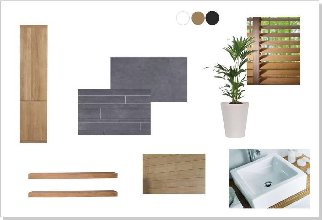 Ambiance zen ardoise et bois: salle de bains de style par agence ...