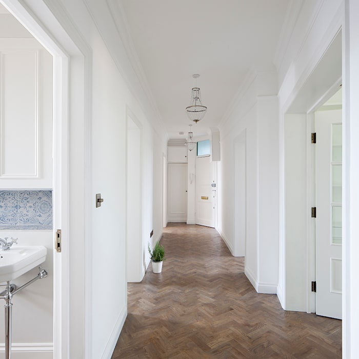 Oakhill Court, Putney Ardesia Design Ingresso, Corridoio & Scale in stile rustico