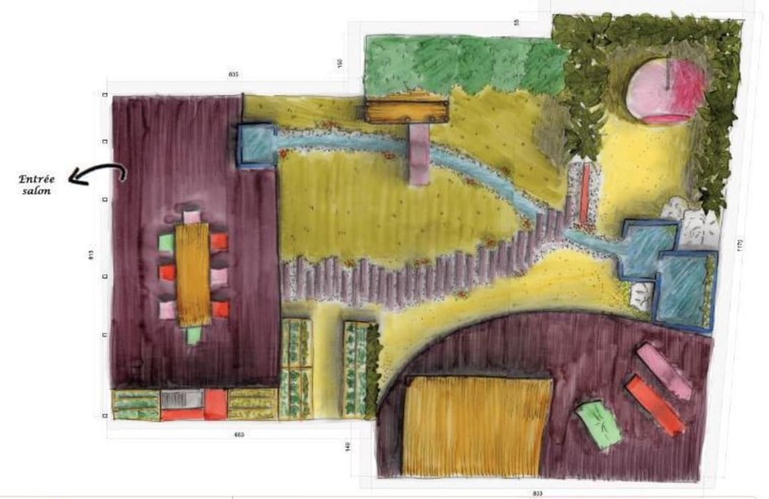 Plan d'agencement: Jardin de style  par Bulles d'Inspi