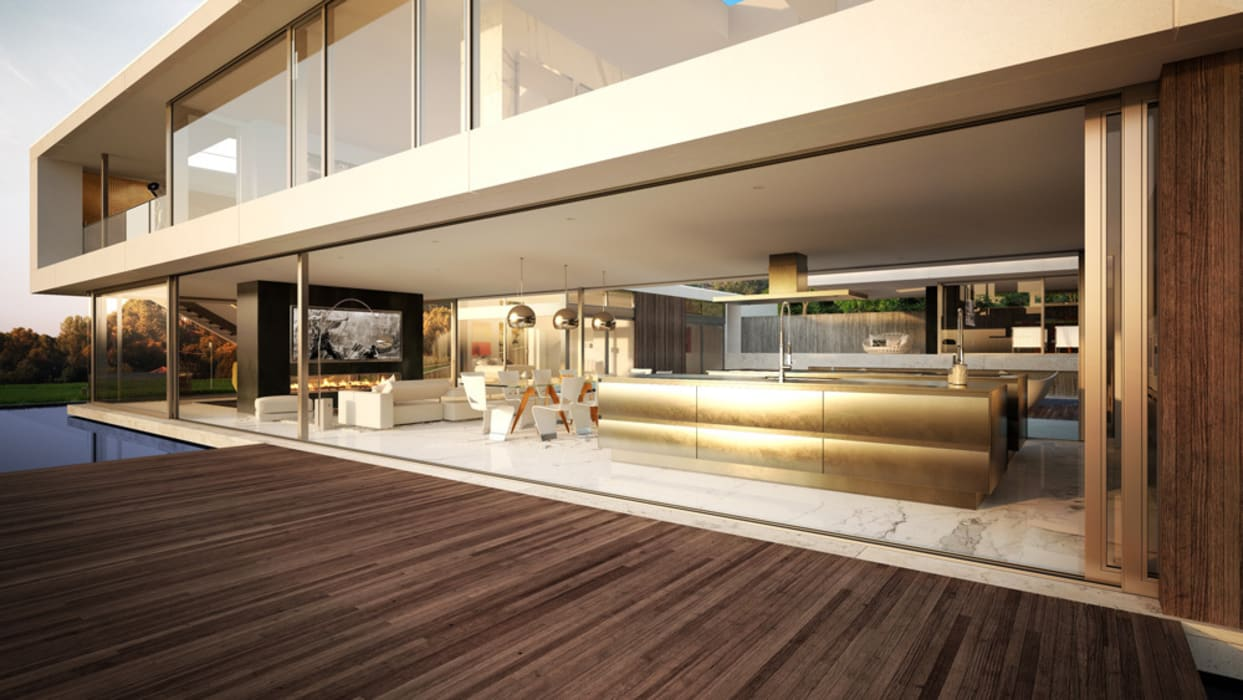 Render vivienda de lujo en Palos Verdes. Casas de estilo moderno de Berga&Gonzalez - arquitectura y render Moderno
