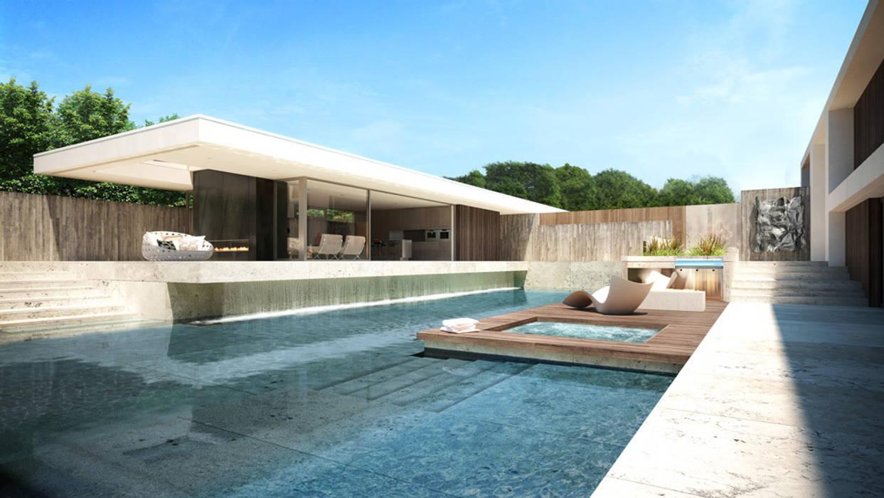 Render vivienda de lujo en Palos Verdes: Casas de estilo moderno de Berga&Gonzalez - arquitectura y render