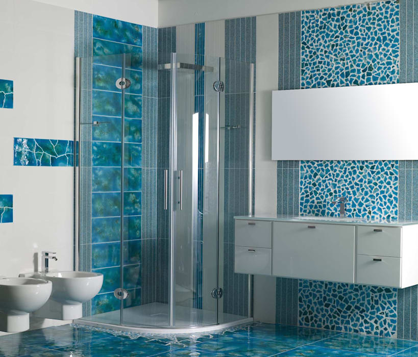 homify Mediterranean style bathrooms Stone Turquoise