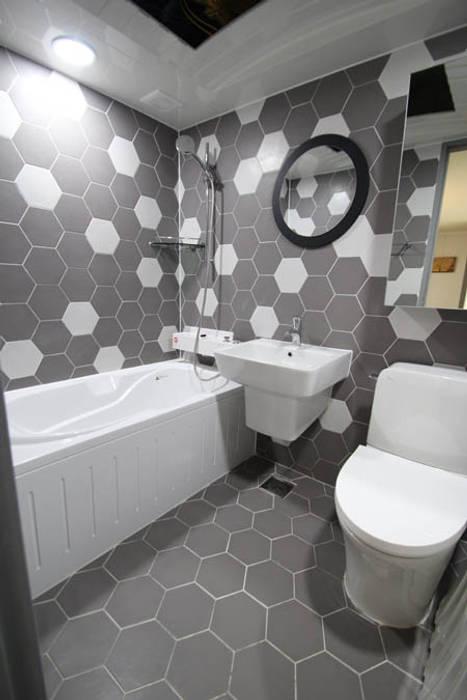 헥사타일을 이용한 욕실 인테리어 모던스타일 욕실 by STORY ON INTERIOR 모던