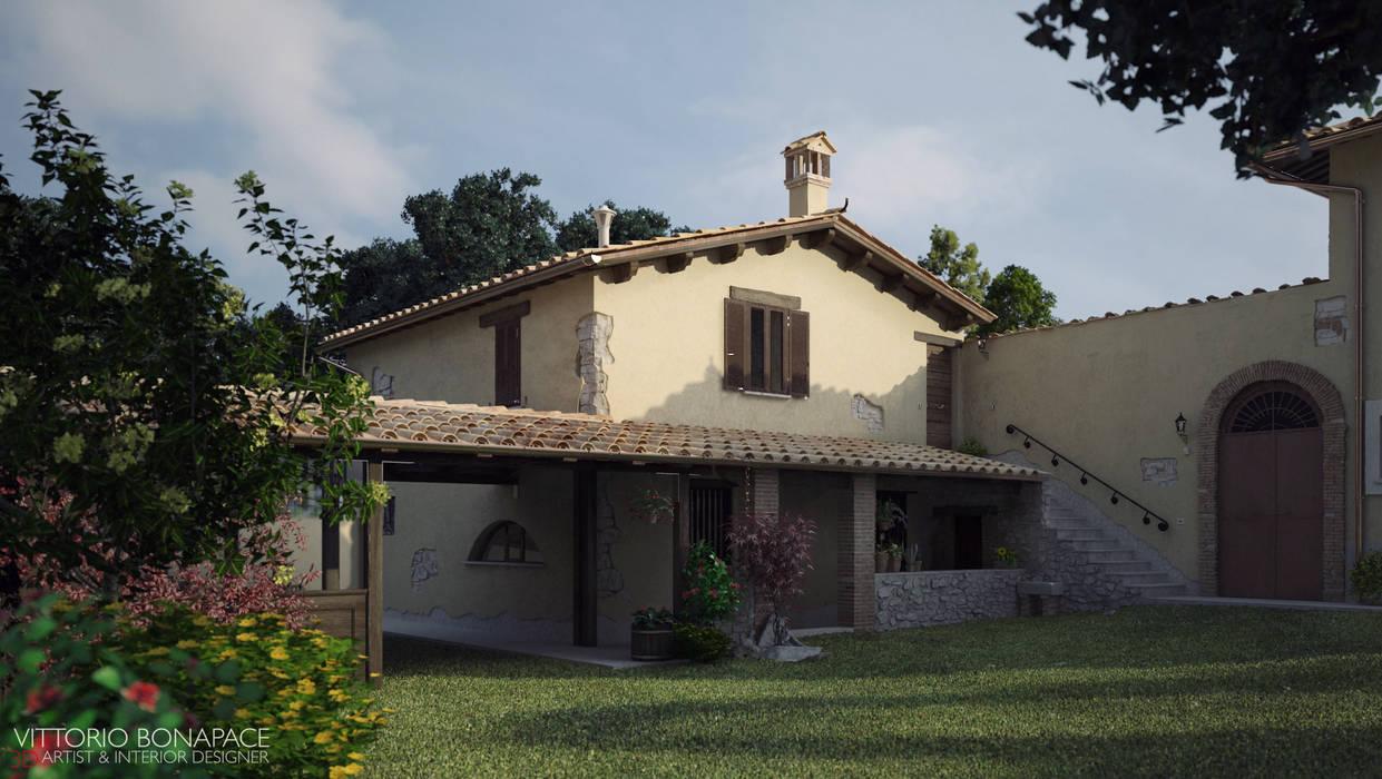 Villa Vittoni - Esterno Case in stile rustico di Vittorio Bonapace 3D Artist and Interior Designer Rustico