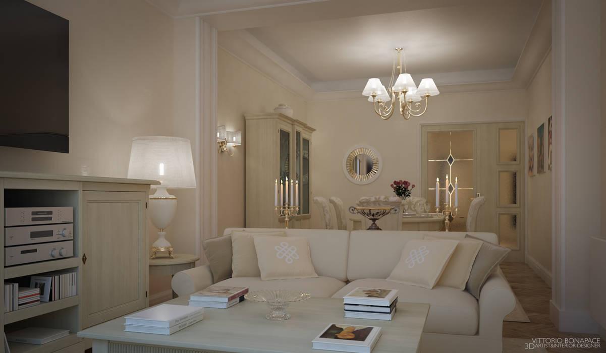 Villa a Nizza: Soggiorno in stile  di Vittorio Bonapace 3D Artist and Interior Designer