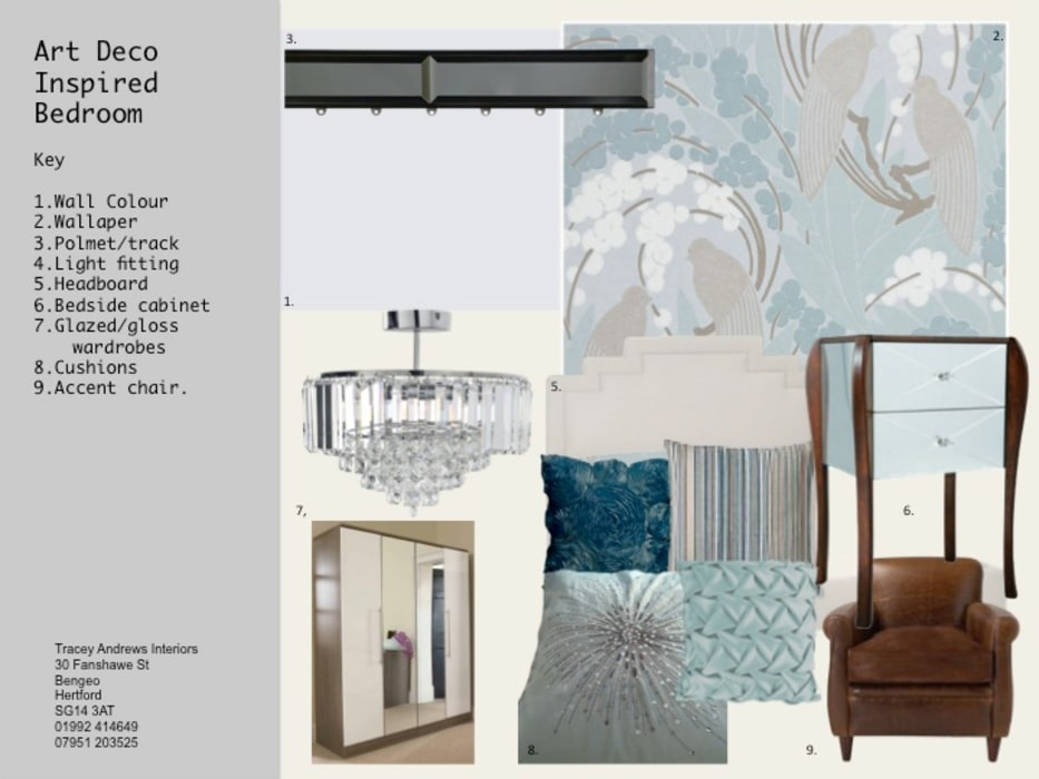 Mood Board for Bedroom Serene:  Bedroom by Tracey Andrews Interiors