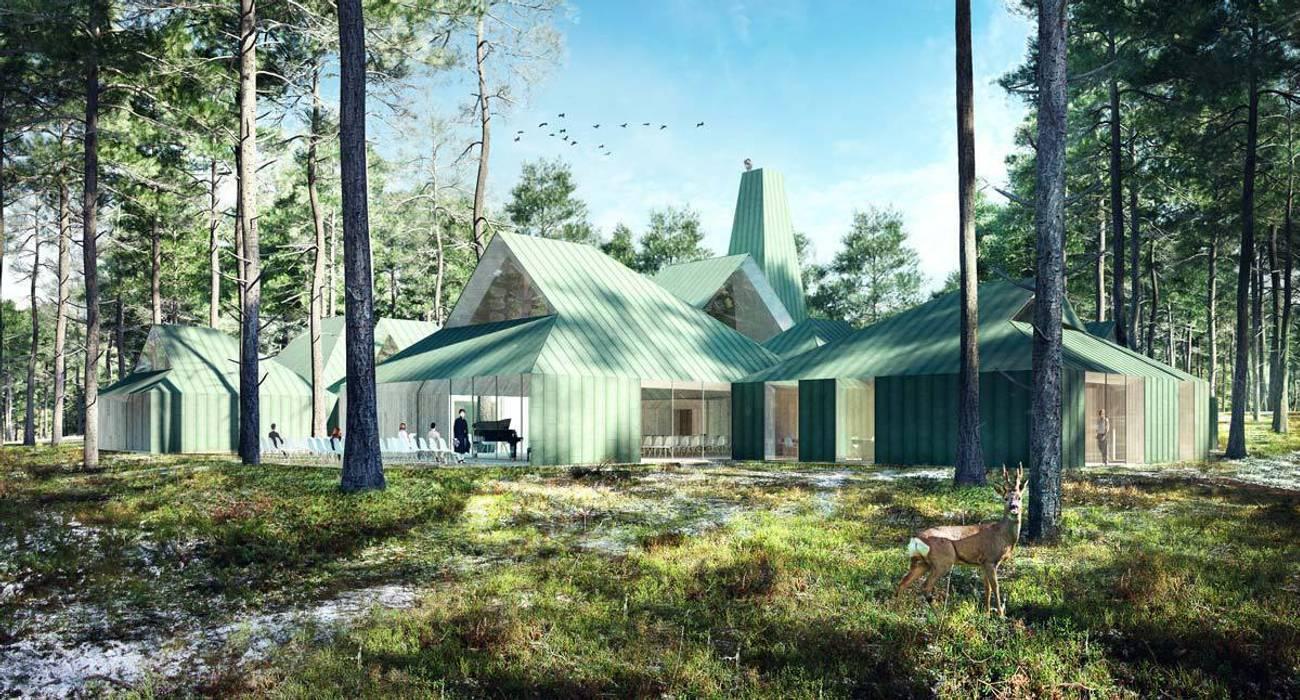 Render Arvo Part Centre Museos de estilo moderno de Berga&Gonzalez - arquitectura y render Moderno