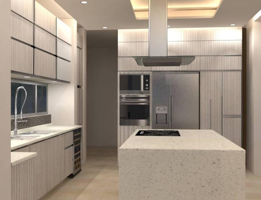 COCINA RESIDENCIAL: Cocinas de estilo minimalista por GHT EcoArquitectos