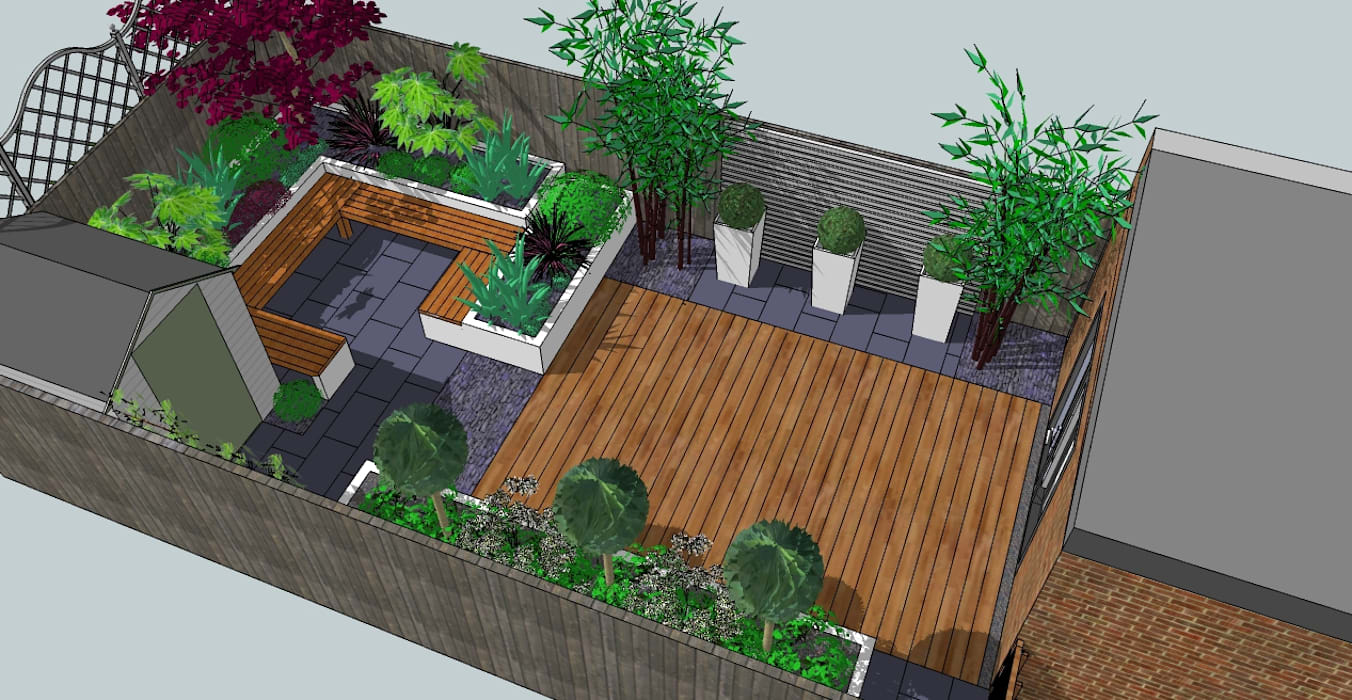 Contemporary design for small back garden Modern garden by Bea Ray Garden Design Ltd Modern