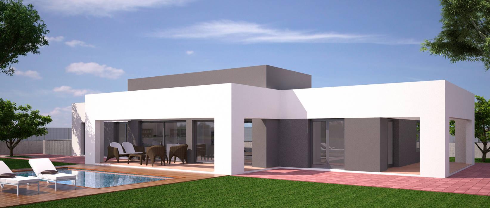 VIVIENDA UNIFAMILIAR AISLADA Y PISCINA: Casas de estilo moderno de NUÑO ARQUITECTOS
