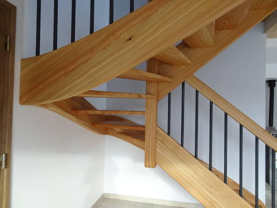Escalier intérieur en mélèze: Maisons de style  par Tangentes Architectes
