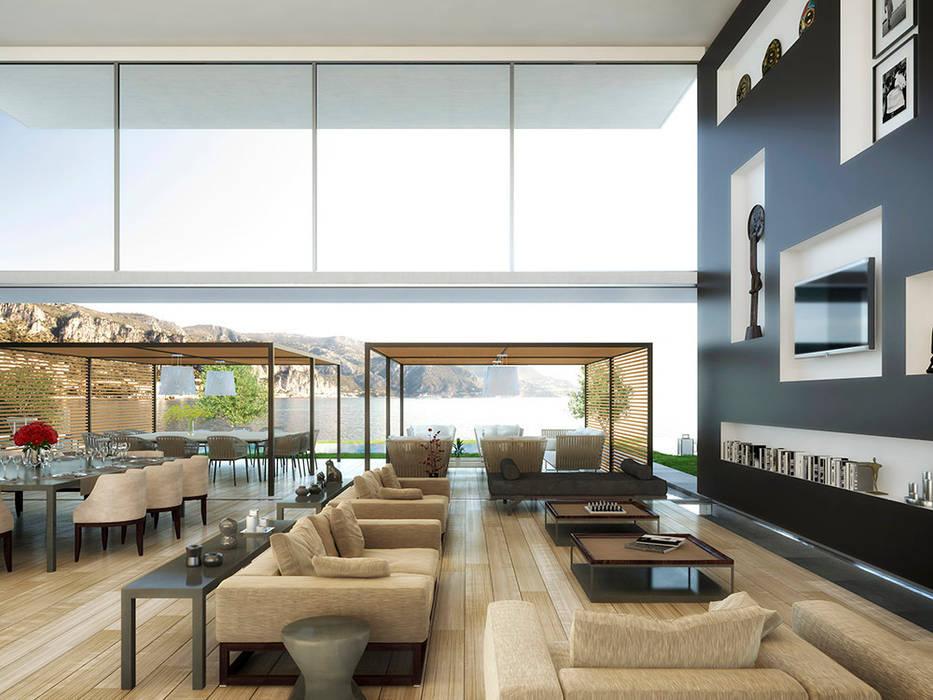Infografia 3D villa de lujo en la Costa Azul Casas de estilo moderno de Berga&Gonzalez - arquitectura y render Moderno