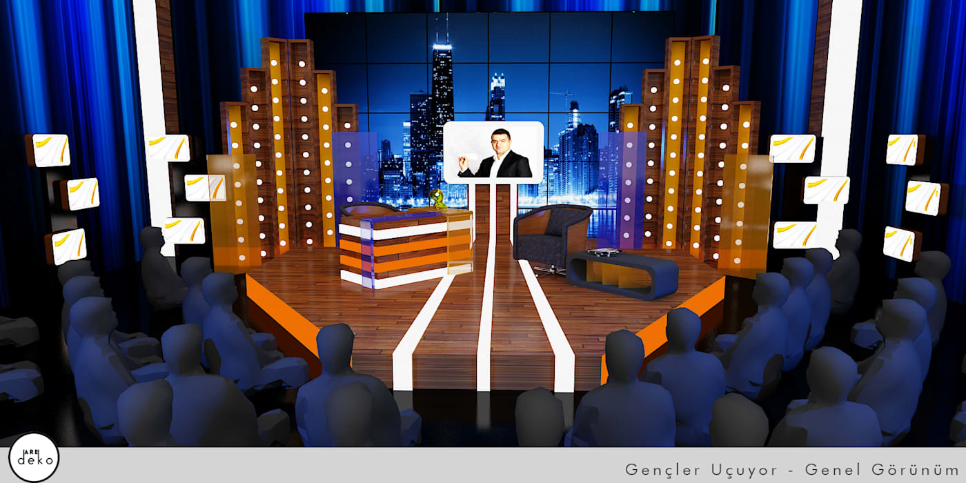 TV Set Design 3D drawing Eclectic style conference centres by AreDEKO & AreSETS Eclectic