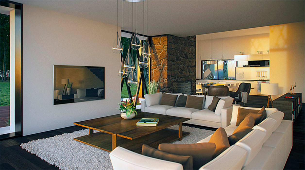 Isola House - living room:  Living room by Haag Architects