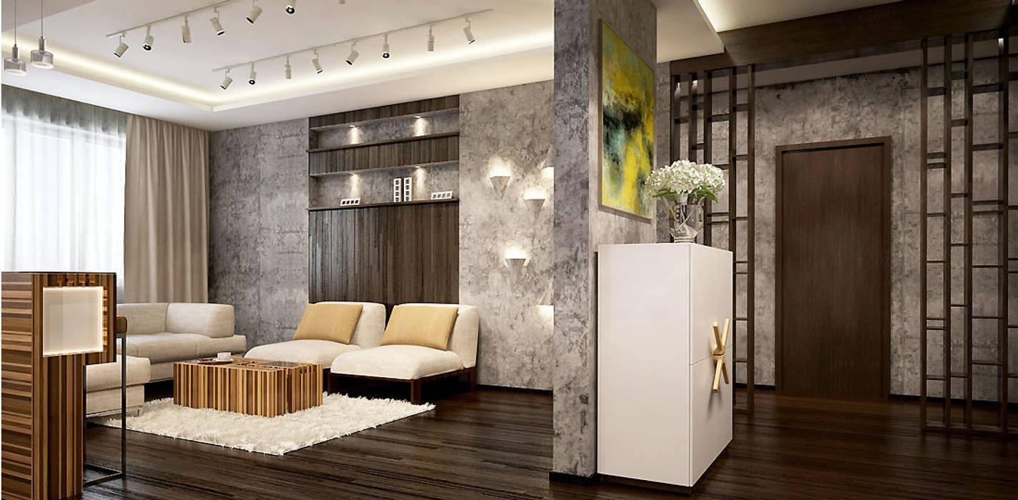 Дизайн-проект квартиры 90 кв.м.: Гостиная в . Автор – Александра Петропавловская, Минимализм