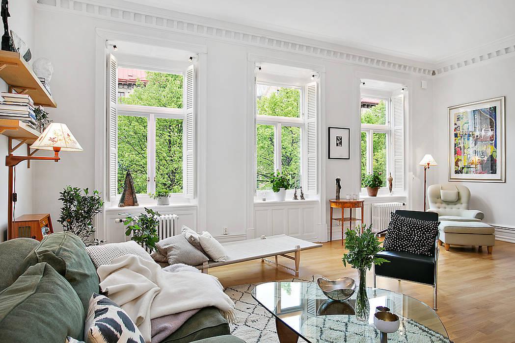 Alvhem Mäkleri & Interiör - living room Magdalena Kosidlo Scandinavian style living room