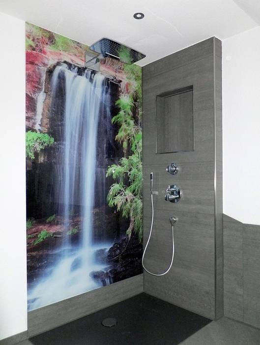 Bodengleiche offene dusche mit wasserfallmotiv: badezimmer von schön ...