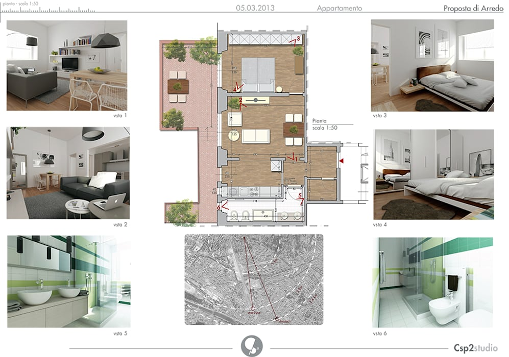 Pianta arredata Case moderne di CSP2 studio Moderno