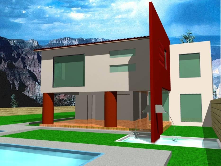 proyecto alberca y costado recamara Albercas modernas de CESAR MONCADA SALAZAR (L2M ARQUITECTOS S DE RL DE CV) Moderno