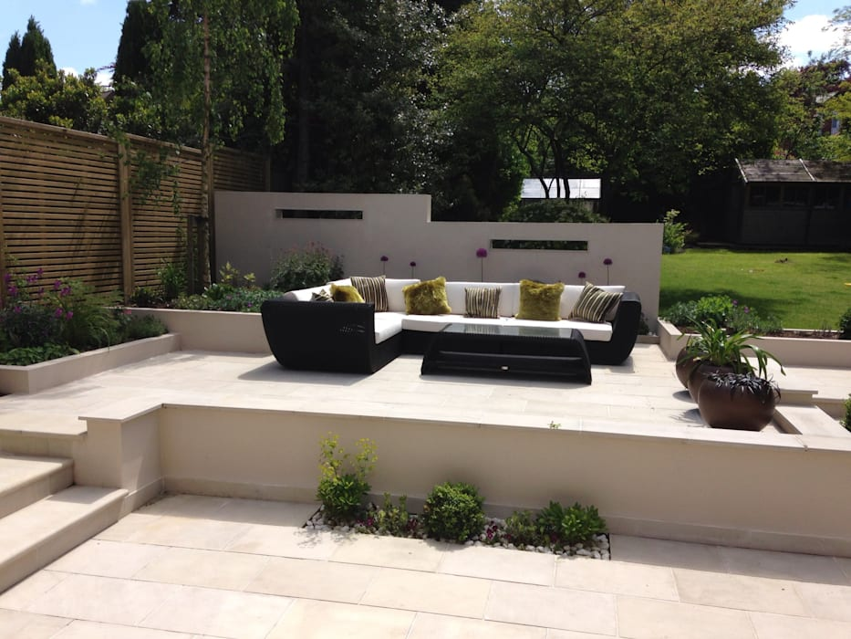Contemporary split level terrace modern garden by ... on Split Level Backyard Ideas id=20968