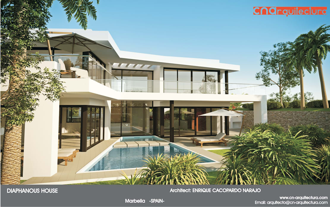 Diaphaous House: Casas de estilo minimalista de CN ARQUITECTURA