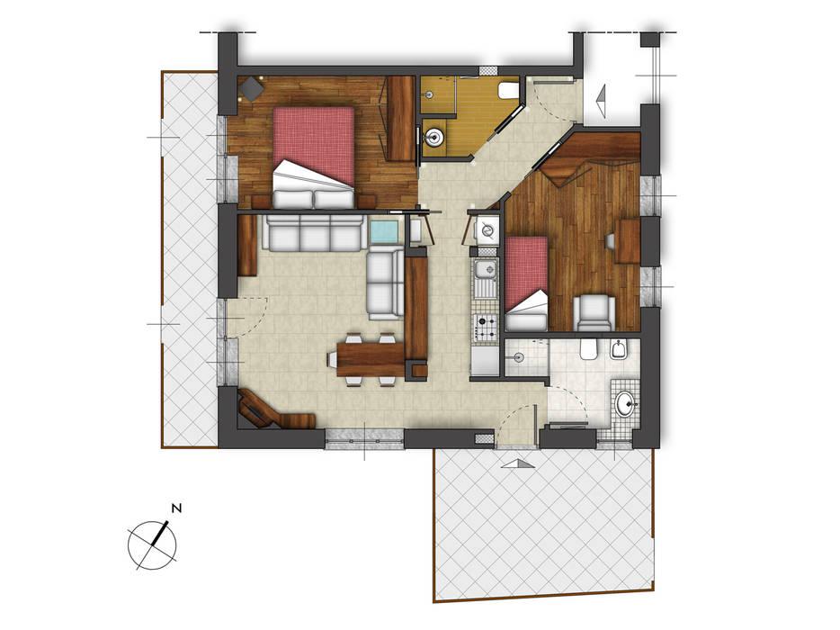 Planimetria di progetto Case in stile rustico di Errequadro Progetto Rustico