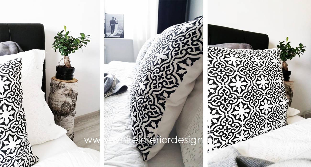 Sypialnia loftowo-skandynawska Skandynawska sypialnia od White Interior Design Skandynawski
