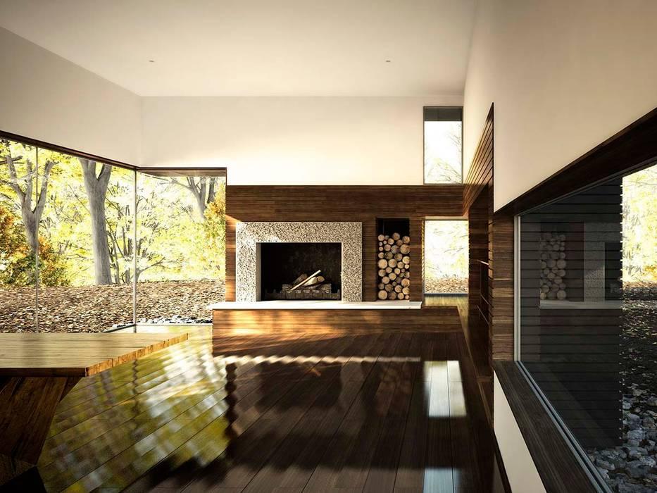 Render de un estudio para un escritor en NY: Estudios y despachos de estilo  de Berga&Gonzalez - arquitectura y render