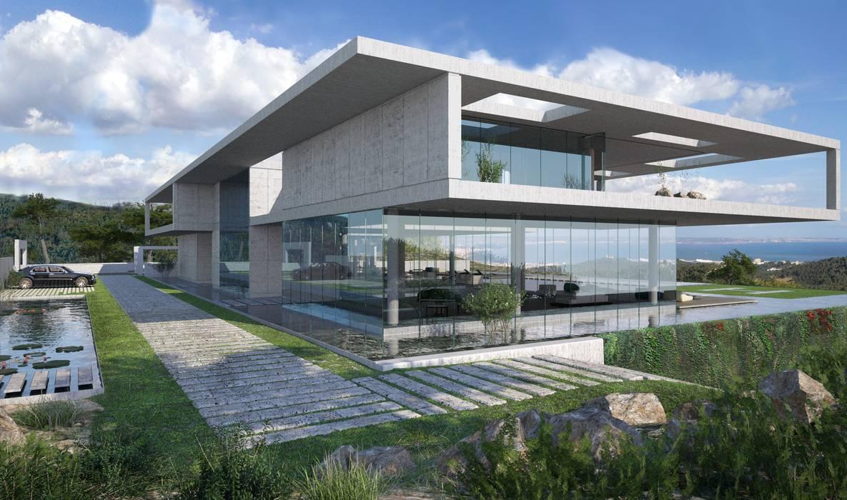 Proyecto 3D - Villa moderna Casas de estilo moderno de Realistic-design Moderno