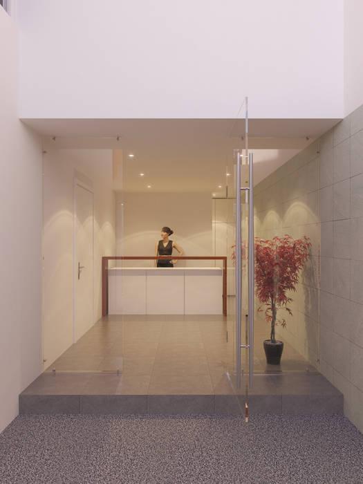 Lobby con Front Desk: Casas de estilo moderno por RECON Arquitectura