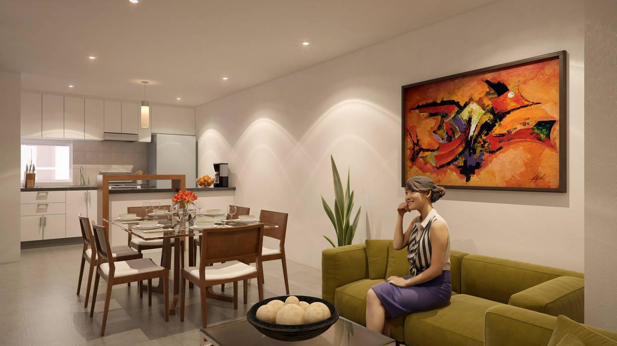 Interior Departamento II: Casas de estilo  por RECON Arquitectura, Moderno