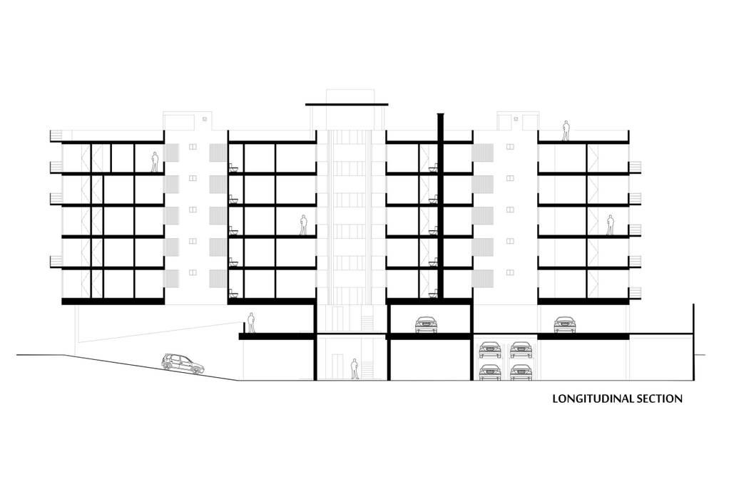 Corte Longitudinal: Casas de estilo moderno por RECON Arquitectura