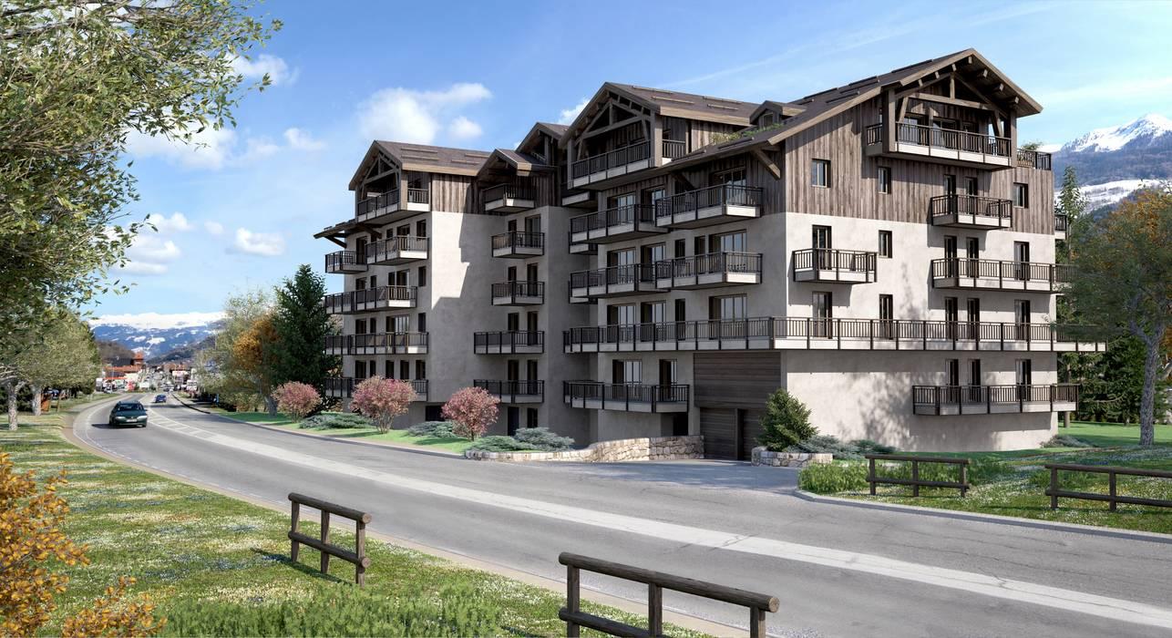 perspectiva 3D edificio de viviendas : Casas de estilo clásico de Realistic-design