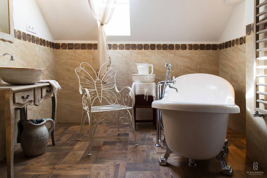 Projekt 48 _ łazienka na piętrze k.halemska Rustykalna łazienka