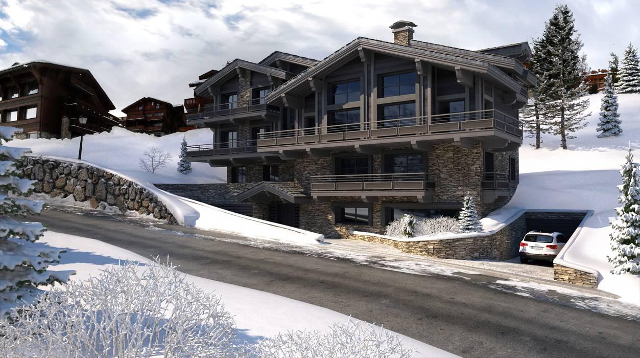 Perspectiva 3D - Chalet en la nieve: Casas de madera de estilo  de Realistic-design