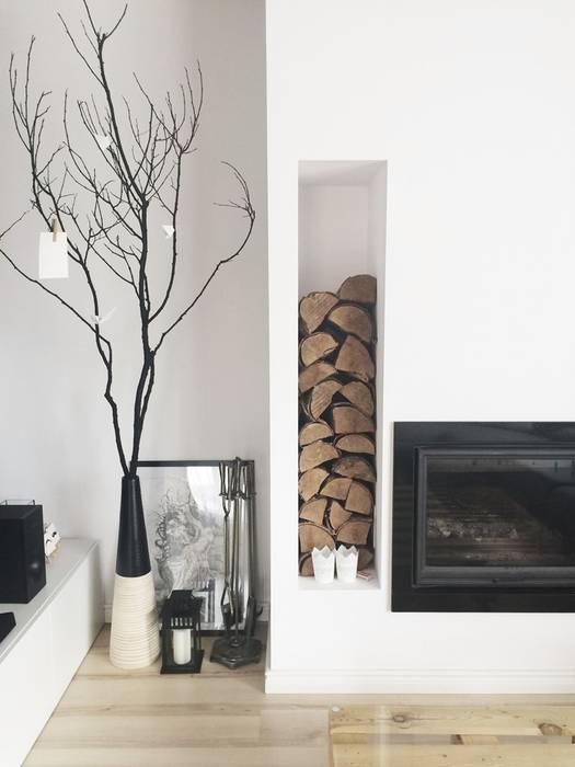 Dom jednorodzinny projekt parteru Skandynawski salon od White Interior Design Skandynawski