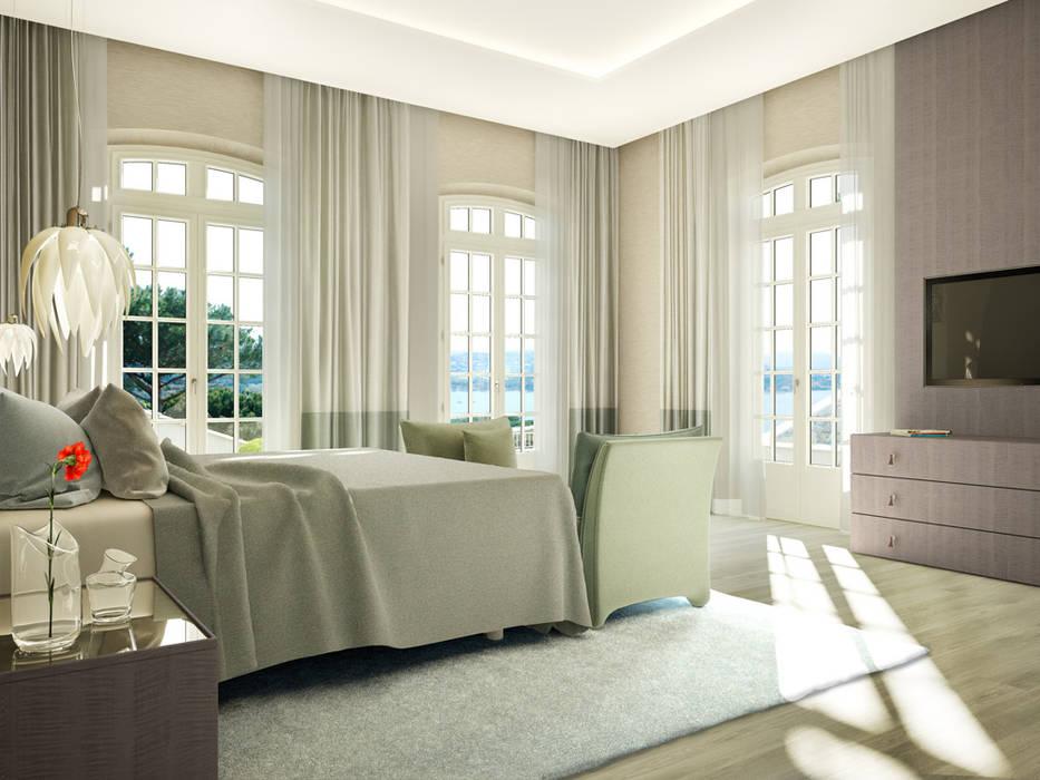 Render 3D de una casa de lujo en Saint Tropez, Francia Dormitorios de estilo clásico de Berga&Gonzalez - arquitectura y render Clásico