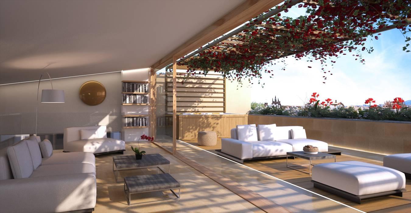 Proyecto 3D - edificio de viviendas Pasillos, vestíbulos y escaleras de estilo moderno de Realistic-design Moderno