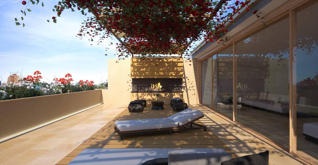 Proyecto 3D - edificio de viviendas Realistic-design Pasillos, vestíbulos y escaleras de estilo moderno
