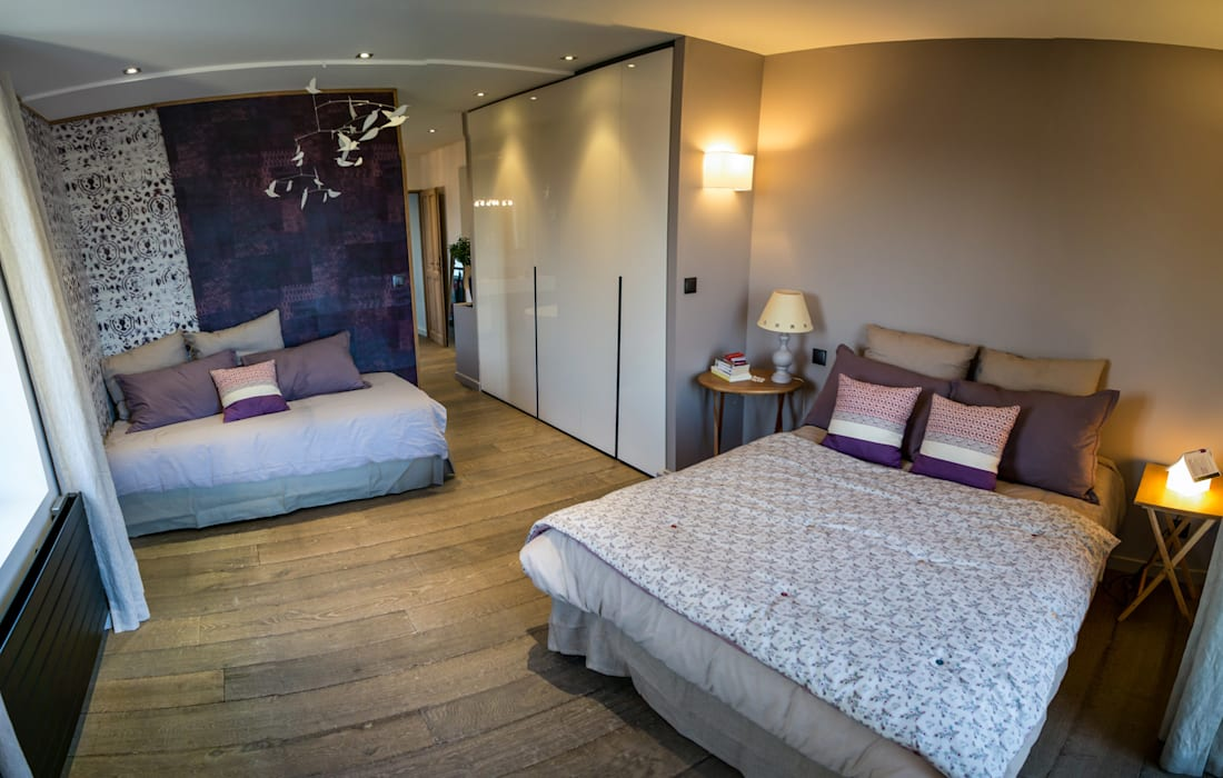chambre salle de bain semi ouverte chambre de style par. Black Bedroom Furniture Sets. Home Design Ideas