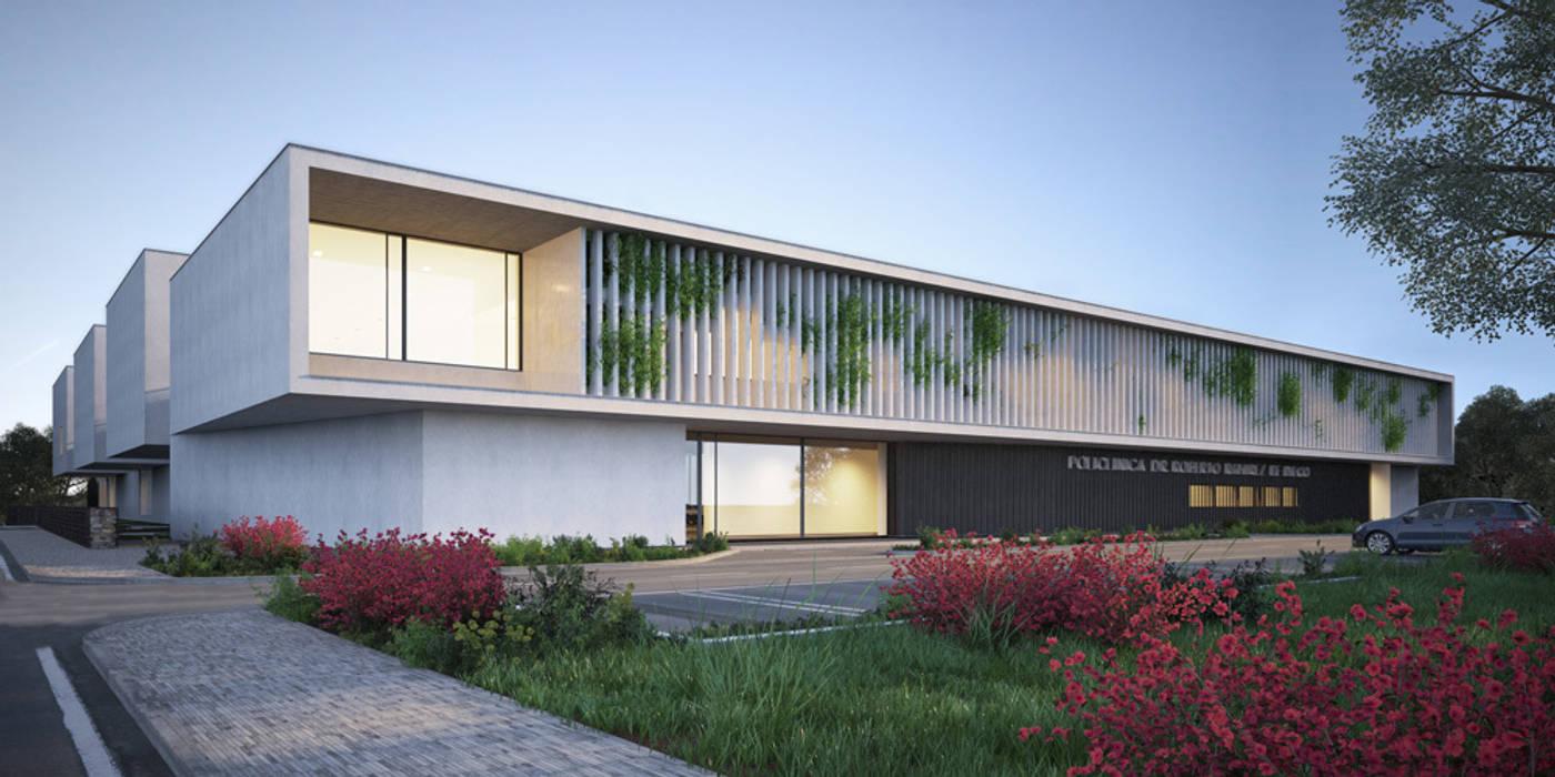 Arquitectura 3D de hospital en Chitré: Hospitales de estilo  de Berga&Gonzalez - arquitectura y render